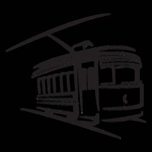 Tren eléctrico a la derecha frente a trazo de estilo antiguo