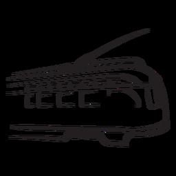 Tren eléctrico mirando hacia la derecha con trazo de mirada rápida