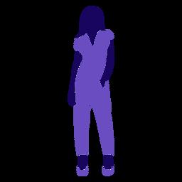 Moda mujer mano en bolsillo de pie
