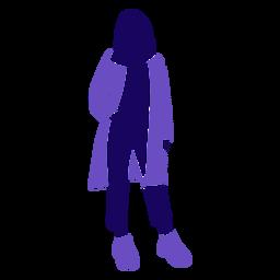 Moda mujer abrigo de pie de bolsillo