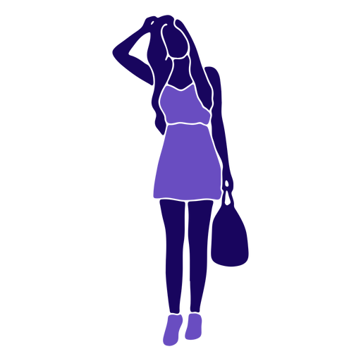 Women fashion handbag hand on head