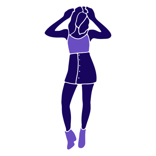 Women fashion hands on head standing