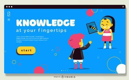 Design de controle deslizante da escola on-line em tela cheia