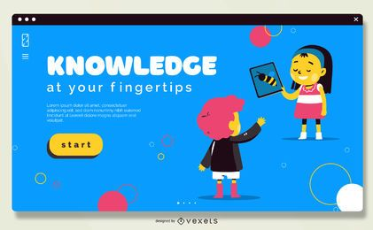 Diseño de control deslizante de escuela en línea a pantalla completa
