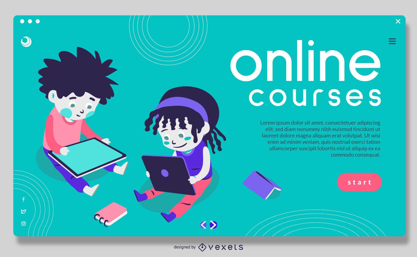 Cursos Online Crianças Design de Slider em Tela Cheia