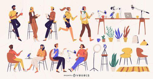 Pacote de ilustração de personagens de podcast