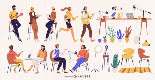 Paquete de ilustración de personajes de podcast
