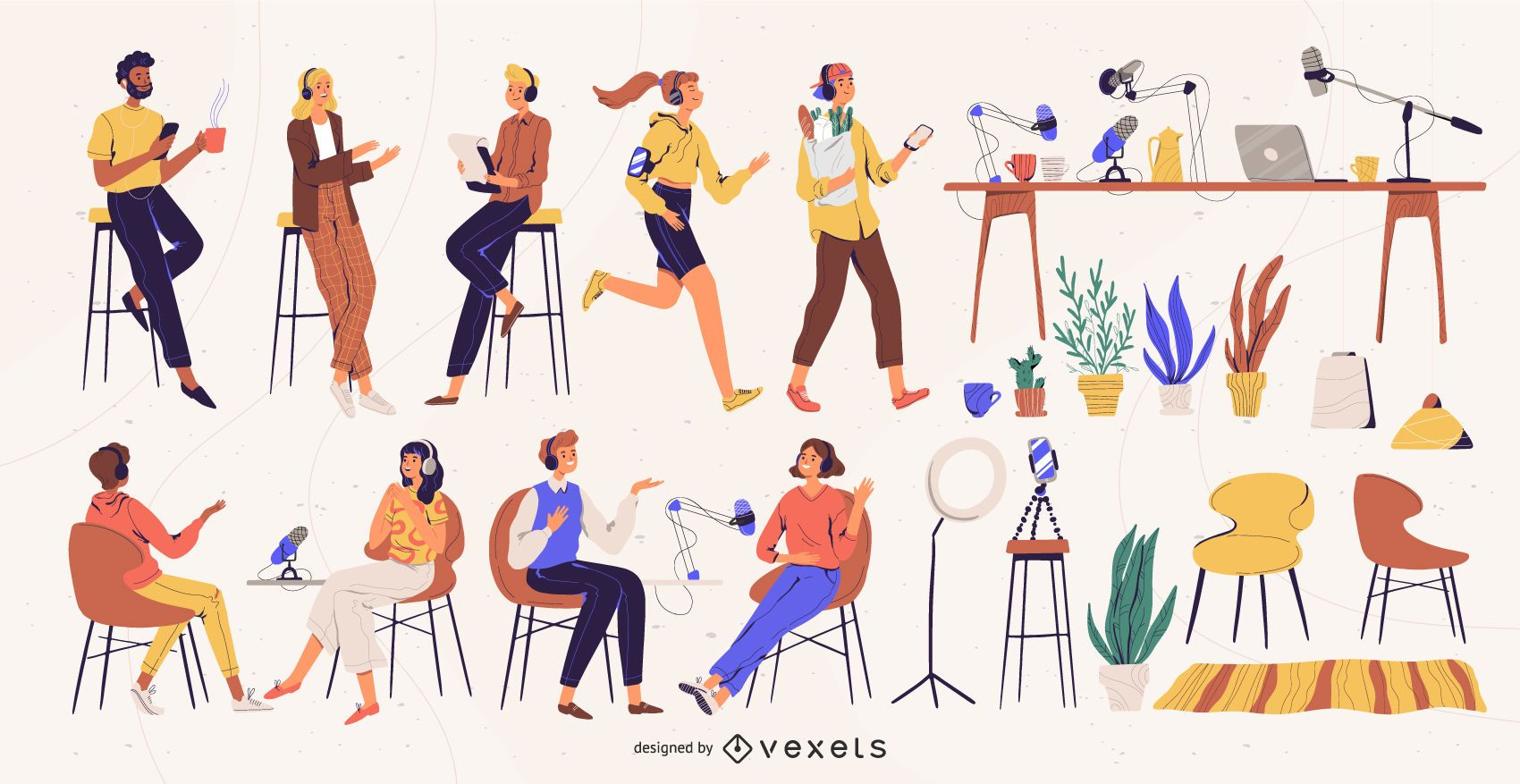 Podcast Characters Illustration Pack