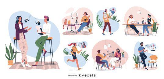 Conjunto de ilustración de personajes de podcast