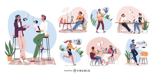 Podcast Characters Illustration Set