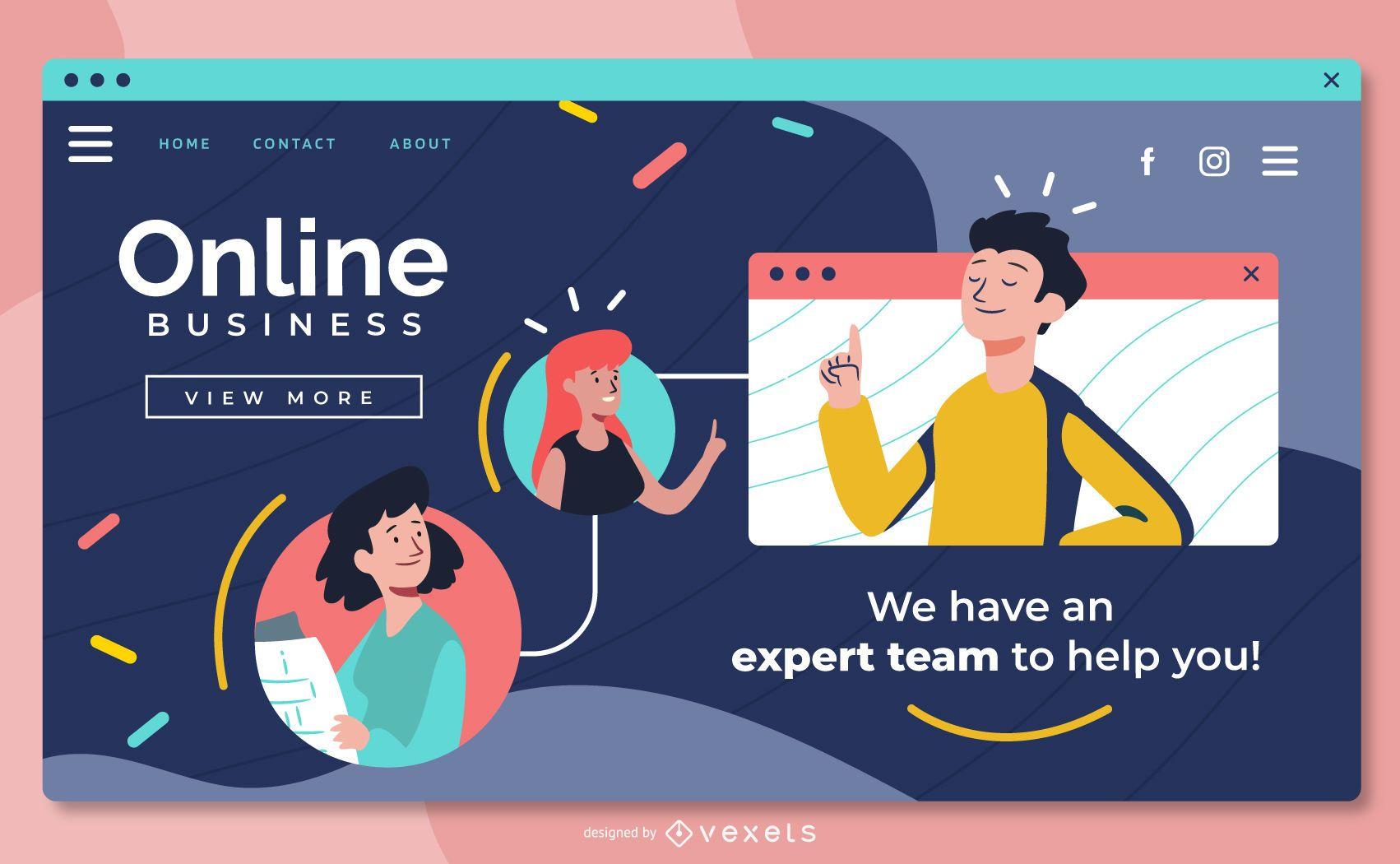Design deslizante de tela inteira para negócios online