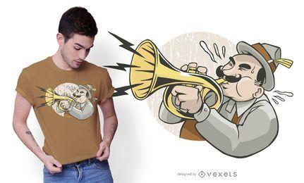 Design de t-shirt de trompetista de jazz