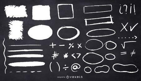 ilustração de quadrados de círculos de giz