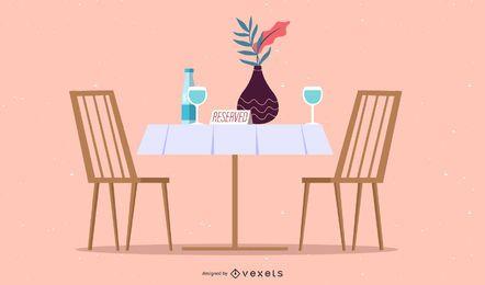 ilustração de restaurante de mesa reservada
