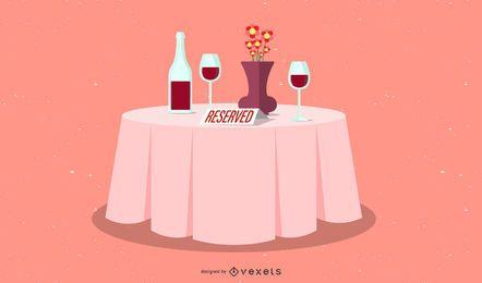 ilustração restaurante mesa reservada