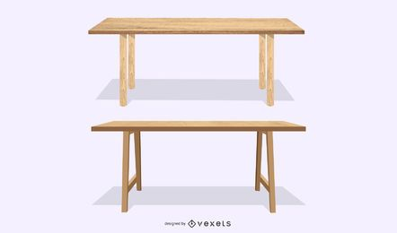 two wooden tables set