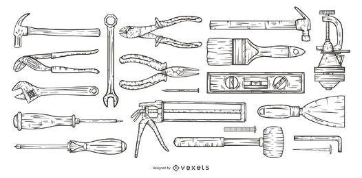 conjunto de ferramentas desenhadas à mão