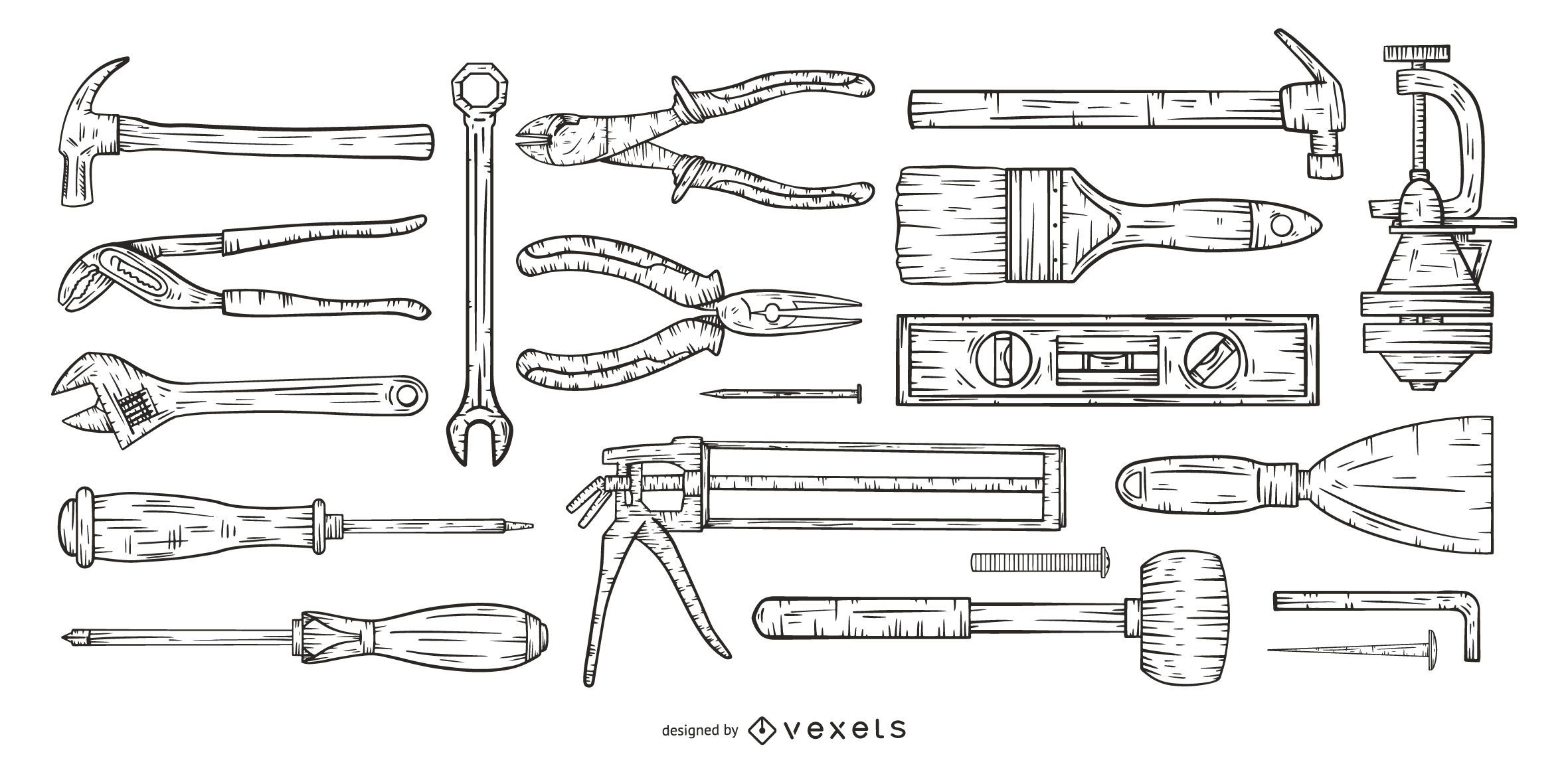 conjunto de herramientas dibujadas a mano