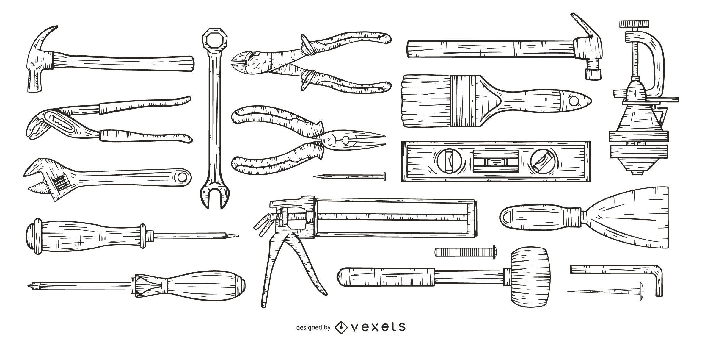 hand drawn tools set