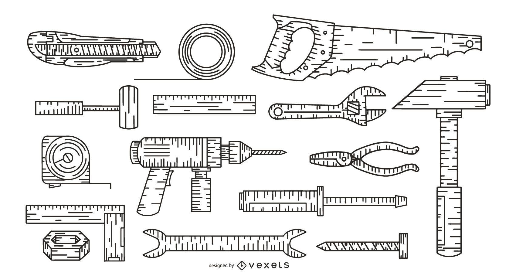conjunto de colección de herramientas dibujadas a mano