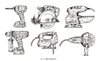 Pacote de Design de Ferramentas Elétricas Ilustradas