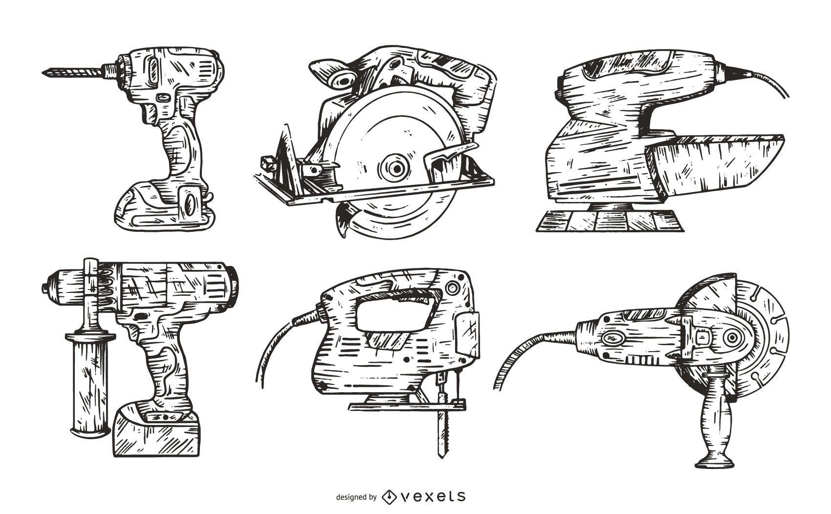 Paquete ilustrado de diseño de herramientas eléctricas