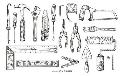 Monochrome Work Tools Illustration Pack