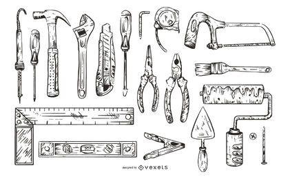 Paquete de ilustración de herramientas de trabajo monocromo
