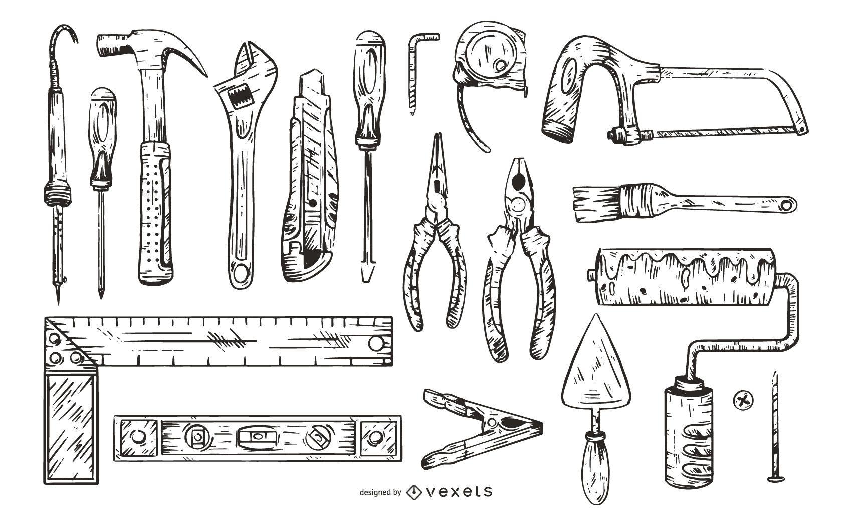 Monochrome Work Tools Illustration Pack