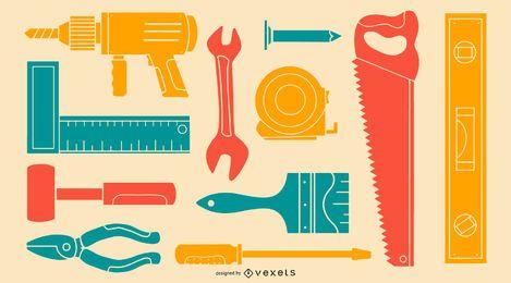 Paquete de silueta colorida herramienta