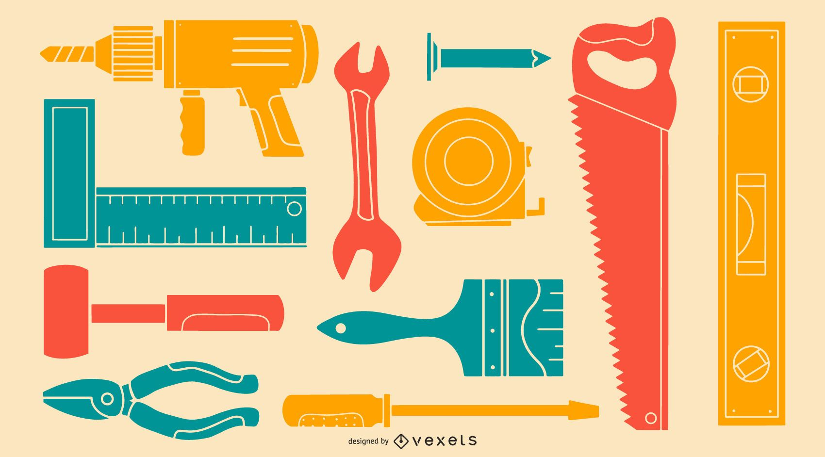 Colorful Tool Silhouette Pack