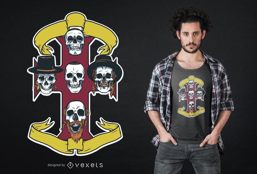 Design de t-shirt de judeus de Heavy Metal