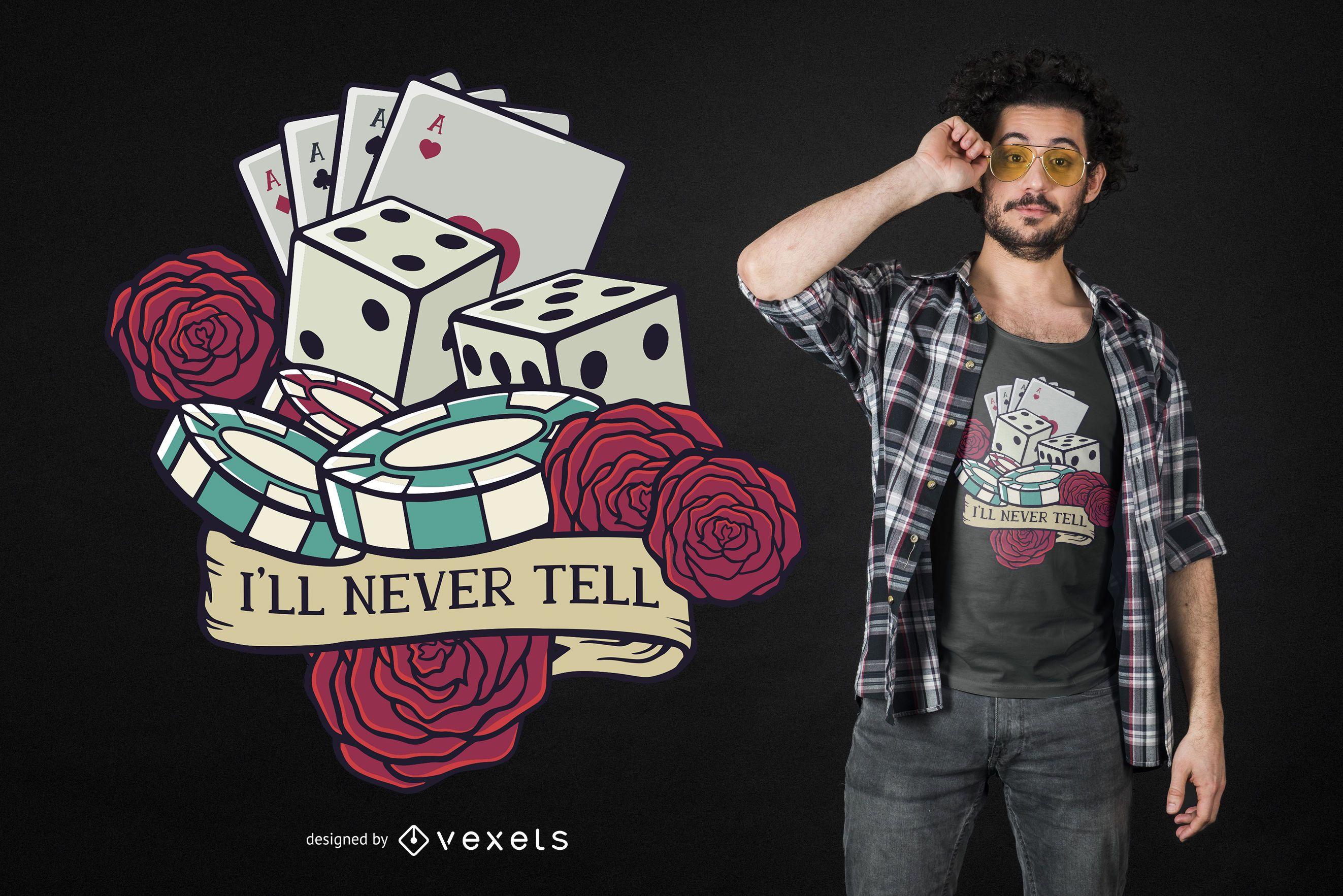 Diseño de camiseta divertida cita de casino