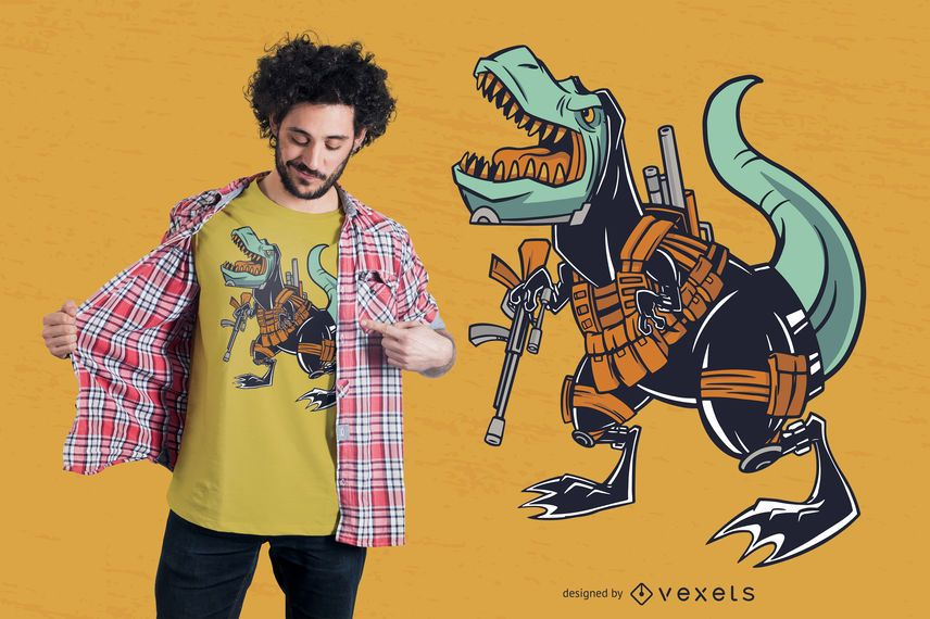 Military T-rex T-shirt Design