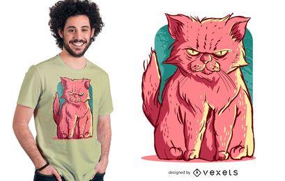 Diseño de camiseta de gato rosa gruñón
