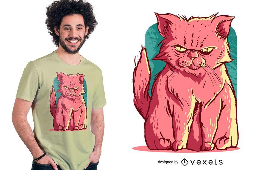 Design cor-de-rosa mal-humorado do t-shirt do gato