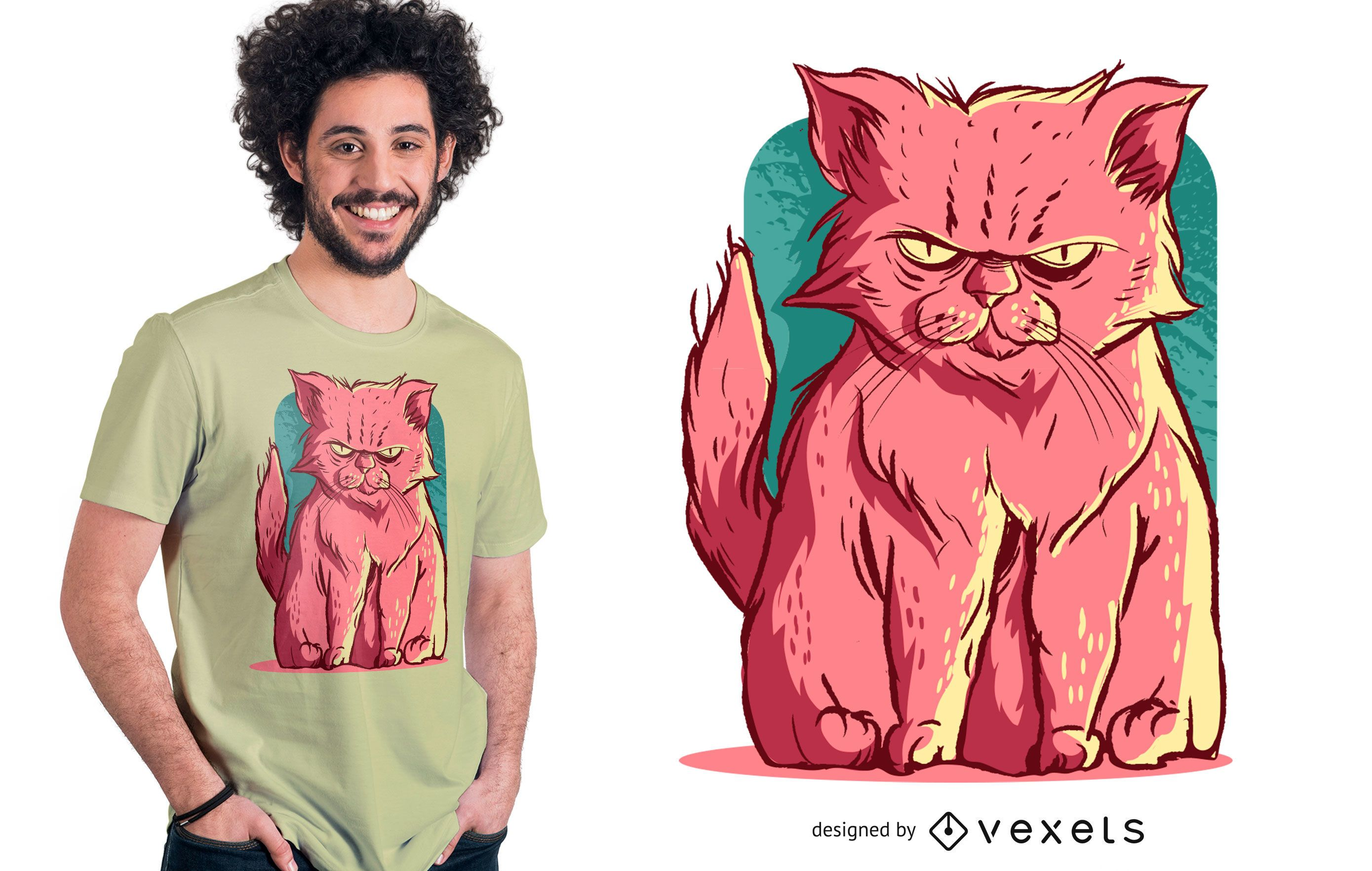 Grumpy Pink Cat T-shirt Design
