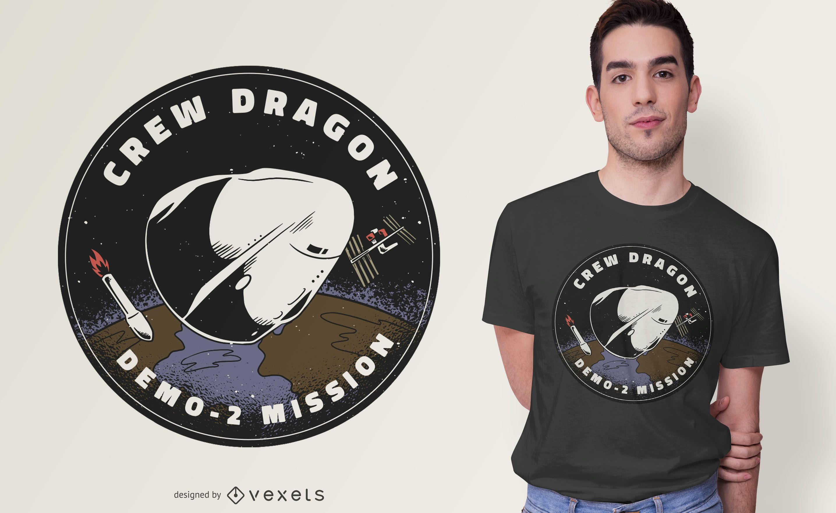 Crew Dragon Patch T-shirt Design