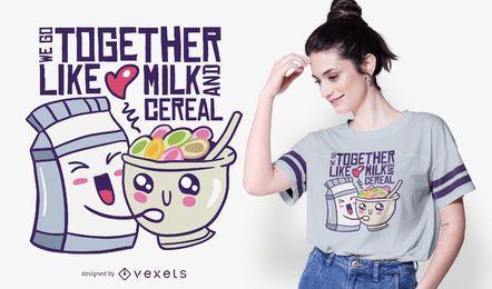 Design de camisetas com citações de amor de leite e cereais