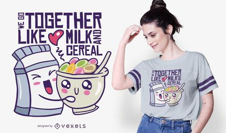 Diseño de camiseta de cita de amor de leche y cereal