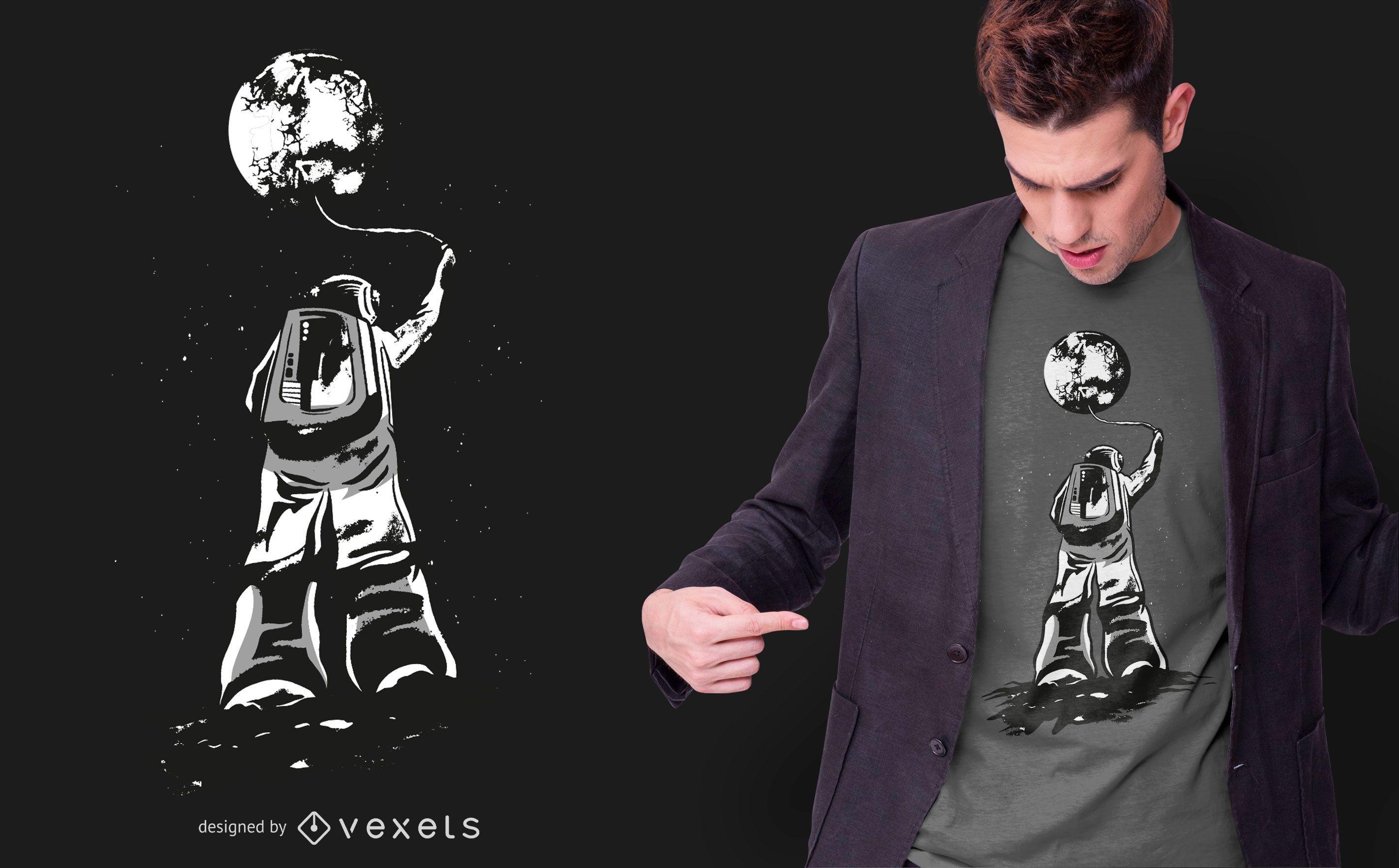 Diseño de camiseta de astronauta y luna