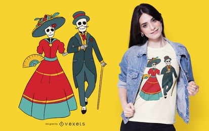 Diseño de camiseta Catrina Couple