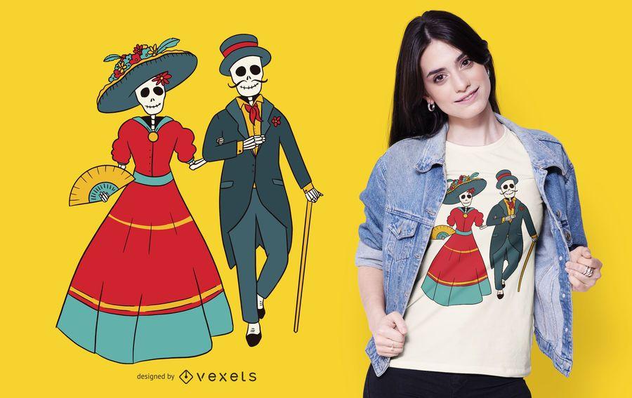 Diseño de camiseta Catrina Couple