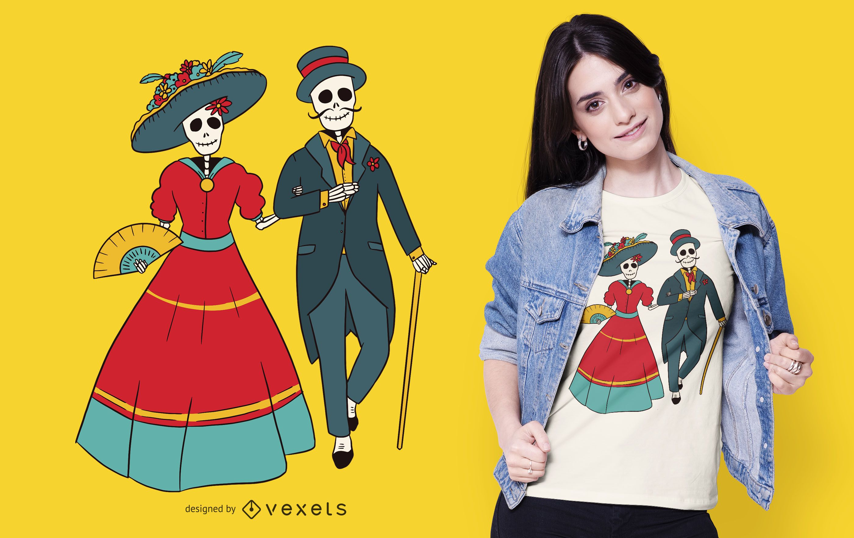 Diseño de camiseta de pareja Catrina