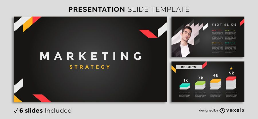 Plantilla de presentación de marketing oscuro moderno