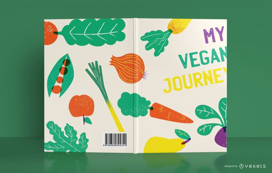 Diseño de portada de libro de revista vegana
