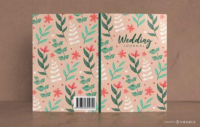 Design de capa de livro floral de jornal de casamento