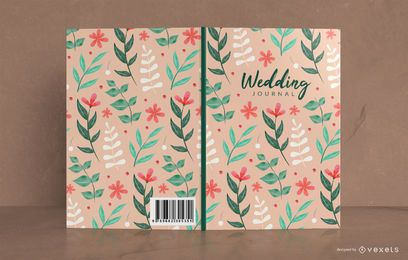 Design floral da capa do livro do diário do casamento
