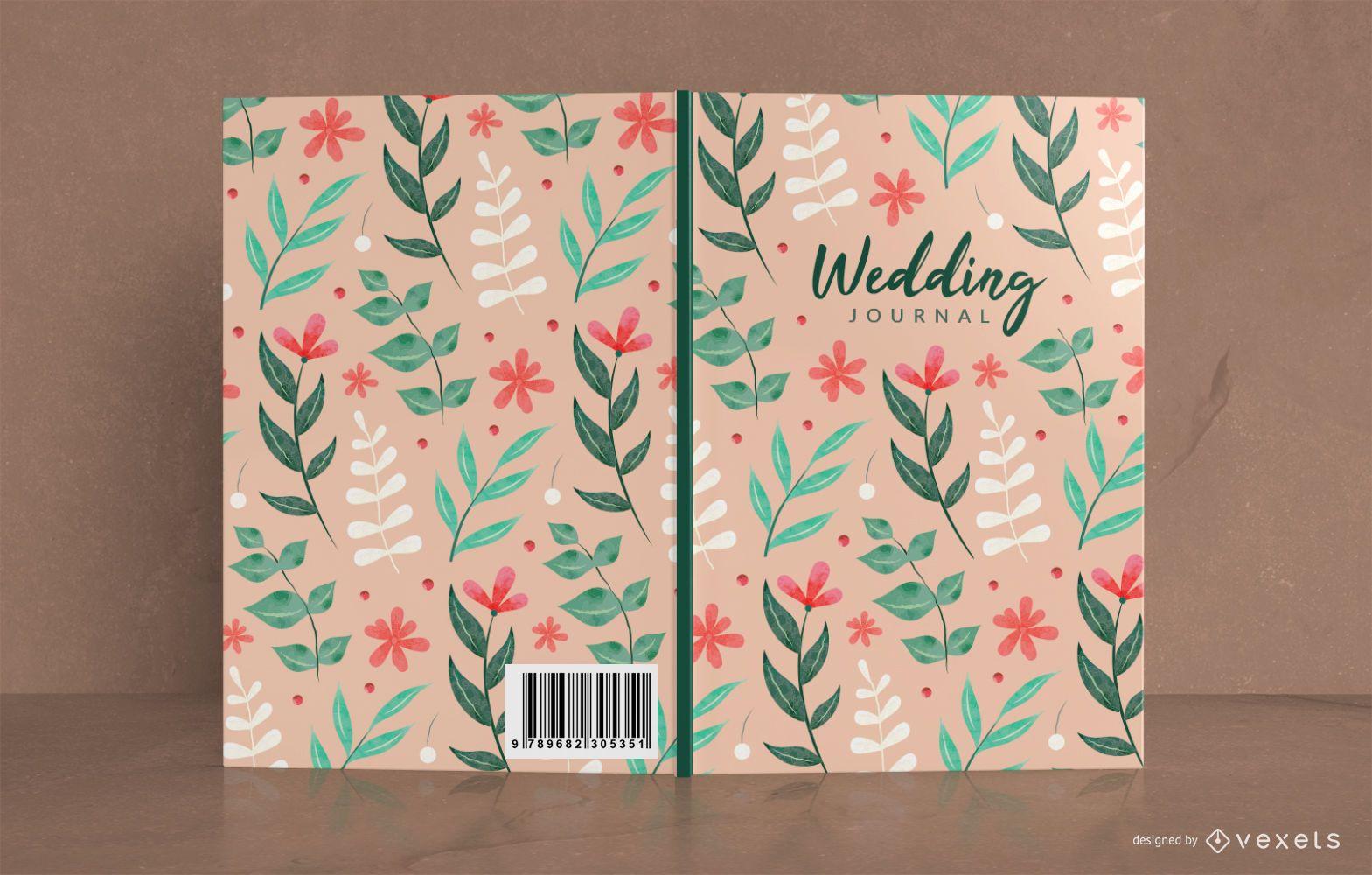 Diseño de portada de libro floral de diario de boda