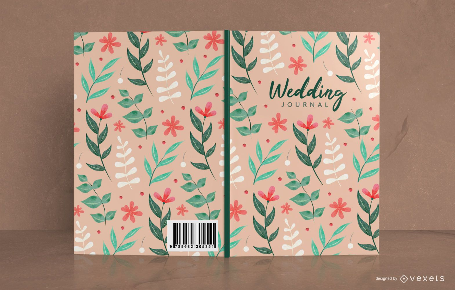 Wedding journal floral book cover design